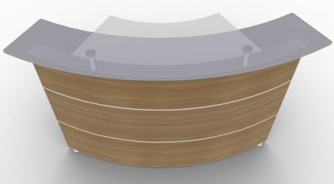 Xtrea Curved Reception Desk Walnut And White Front View