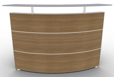 Xtrea Curved Reception Desk Walnut And White Front