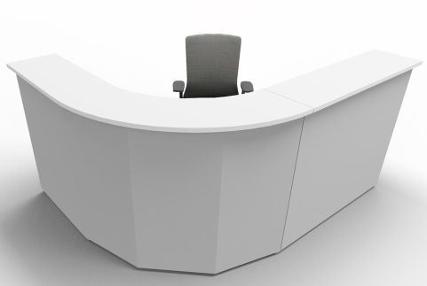 Offimat Curved Reception Desk White Silver Front