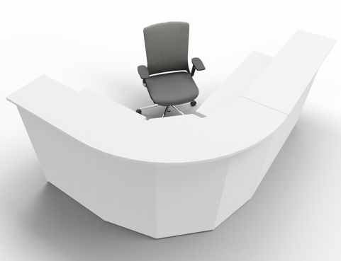 Offimat Curved Reception Desk White Front