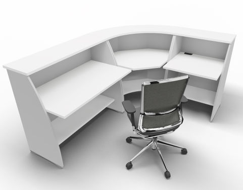 Offimat Curved Reception Desk White Silver Chair Side