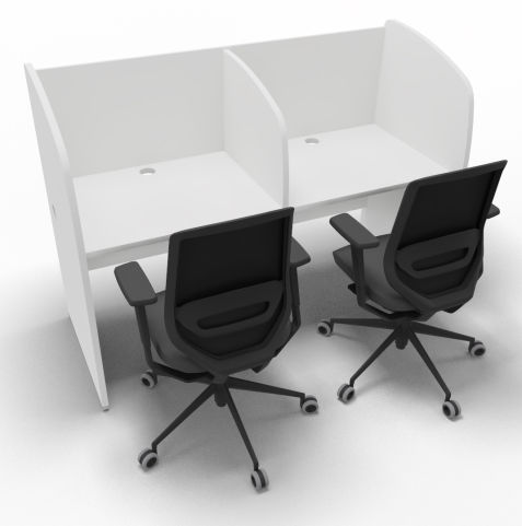 Offimat 120 Two Person Booth White Chairs