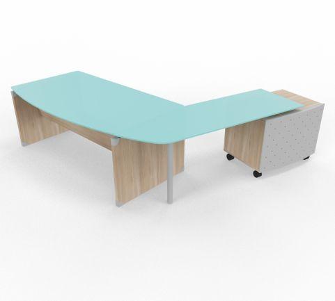 Quad Desk Return Storage Unit Glass Top