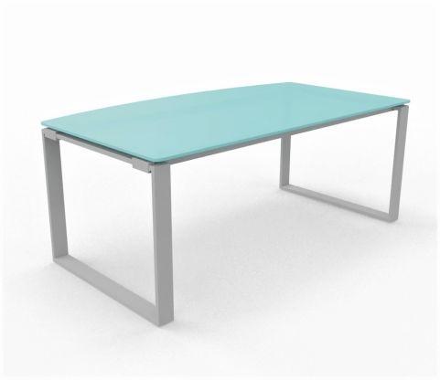 Bow Fronted Glass Top Desk Loop Desk Frame