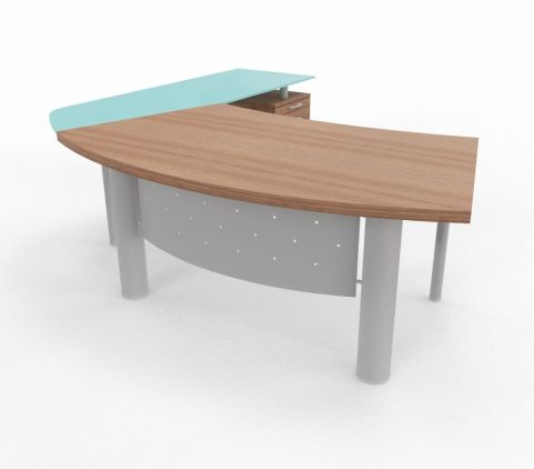 XT Next Bow Fronted Desk With Glass Return Unit And Supporting Pedestal Walnut Left Hand