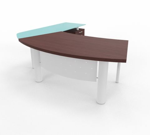 XT Next Bow Fronted Desk With Glass Return Unit And Supporting Pedestal Wenge White Legs