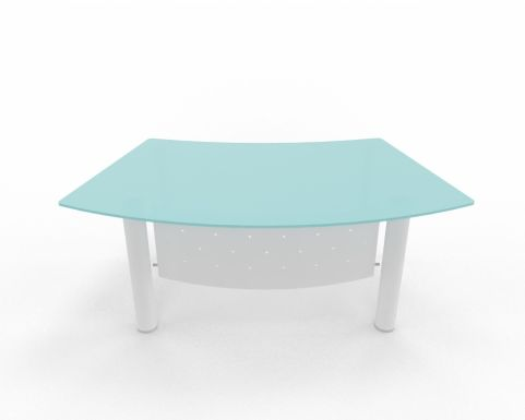 XT Next Bow Fronted Desk With Glass Top White Legs