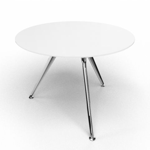 Arkitek Circular Executive White Glass Table With Polished Legs