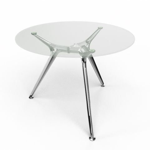 Arkitek Circular Executive Clear Glass Table With Polished Legs
