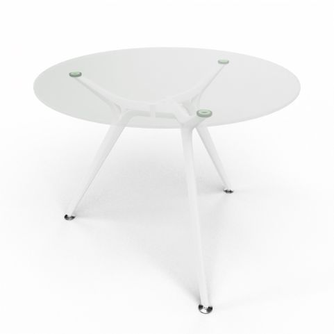 Arkitek Circular Executive Clear Glass Table With White Legs