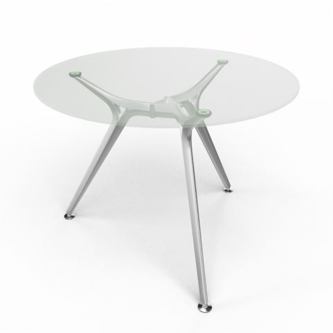 Arkitek Circular Executive Clear Glass Table With Silver Legs