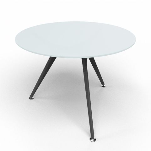 Arkitek Circular Executive Frosted Glass Table With Black Legs