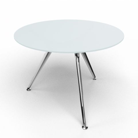 Arkitek Circular Executive Frosted Glass Table With Polished Legs
