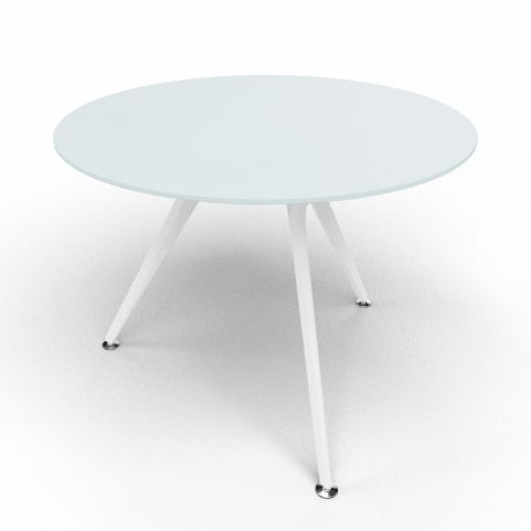 Arkitek Circular Executive Frosted Glass Table With White Legs