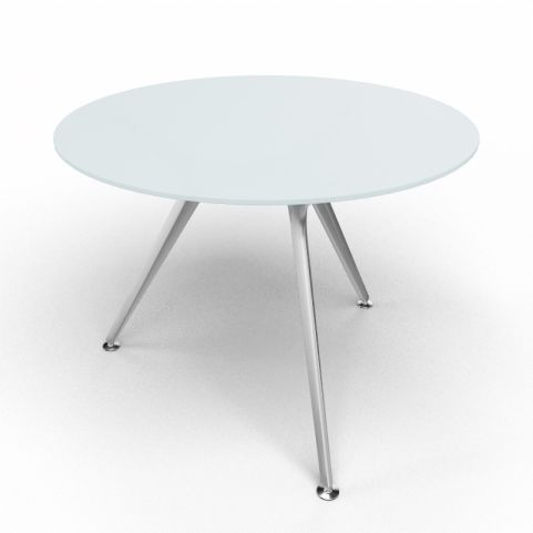 Arkitek Circular Executive Frosted Glass Table With Silver Legs