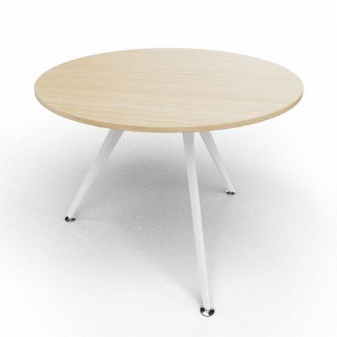 Arkitek Circular Executive Table In Light Oak With White Legs