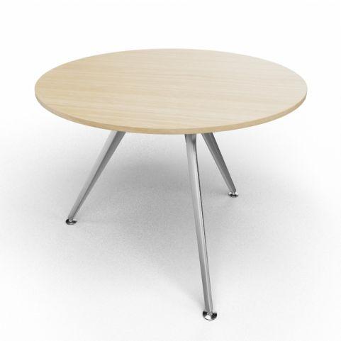 Arkitek Circular Executive Table In Light Oak With Silver Legs