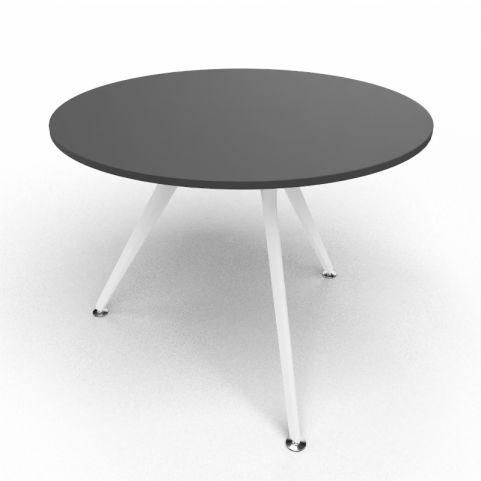 Arkitek Circular Executive Table In Black With White Legs