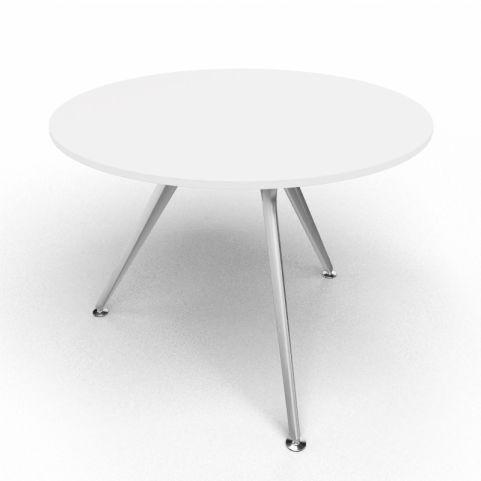 Arkitek Circular Executive Table In White With Silver Legs