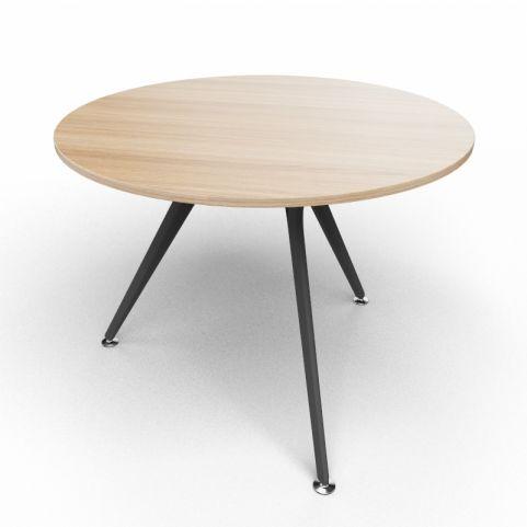 Arkitek Circular Executive Table In Chestnut With Black Legs