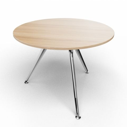 Arkitek Circular Executive Table In Chestnut With Polished Legs
