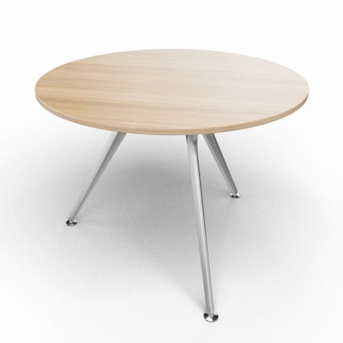 Arkitek Circular Executive Table In Chestnut With Silver Legs