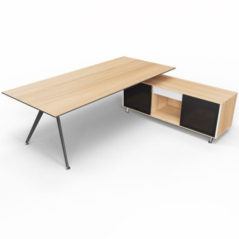 Arkitek Chestnut Executive Desk With Supporting Credenza - Black Frame And Glass Doors