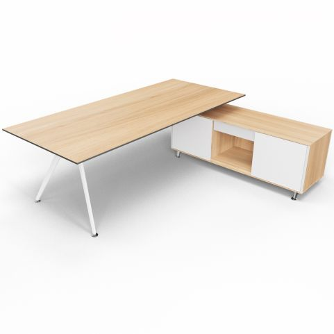 Arkitek Chestnut Executive Desk With Supporting Credenza - White Frame And Glass Doors