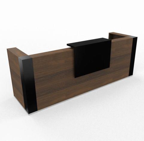 Tera Reception Desk Walnut Gloss Counter Top Black Gloss Shelf And Corner Posts