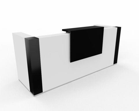 Tera Reception Desk White Black Gloss Corner Posts