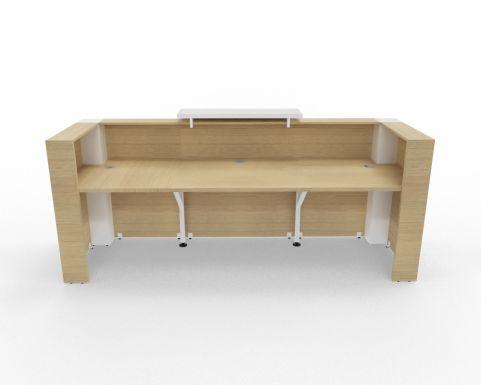 Tera Reception Desk Canadin Oak White Top Rear View 2840mm