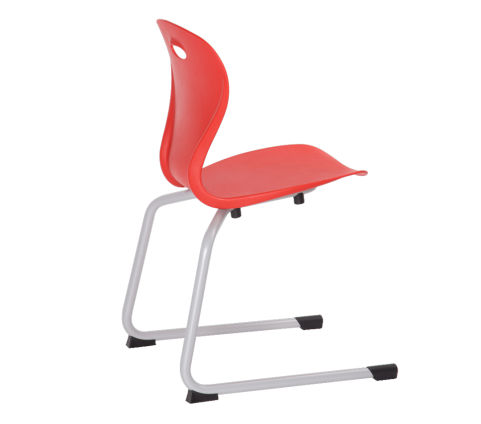 Lotus Red Chair Cantiliver Silver Frame