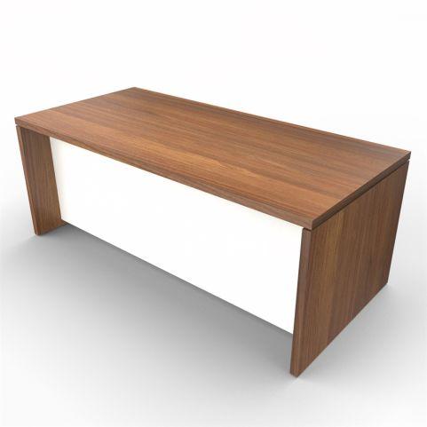 Lithos Executive Rectangular Desk - Natural Walnut + White