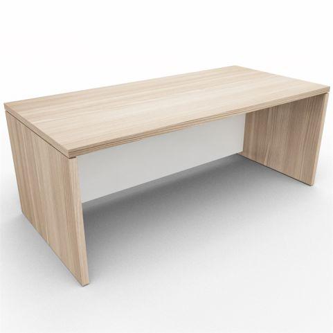 Lithos Executive Rectangular Desk - Oak + White - Rear