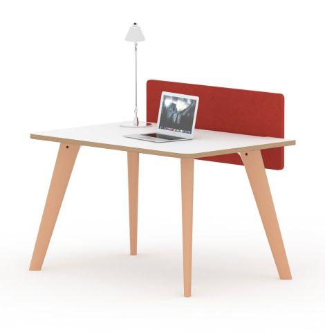 Fika Executive Desk White Top Oak Legs Single Desk