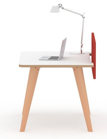 Fika Executive Single Desk White Top Oak Legs