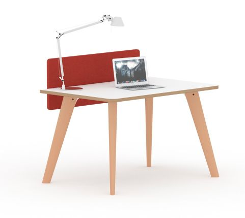 Fika Executive Single Desk White Top Wooden Legs Ply Edging