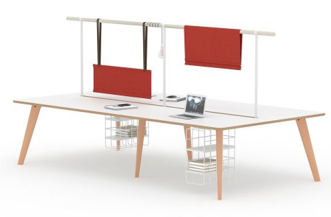 Fika 4 Person Bench Unit With Hanging Screens