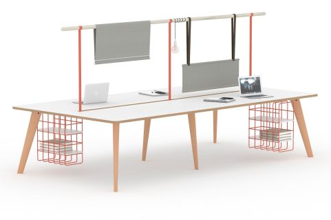 Fika 4 Person Deskinmg Unit With Hanging Gantry System Abd Cable Baskets