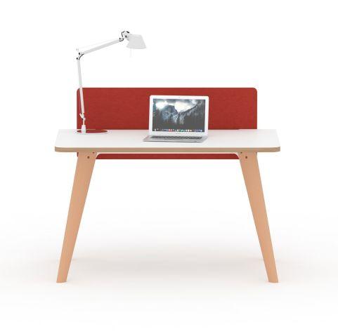 Fika Executive Desk White Top Oak Wooden Legs