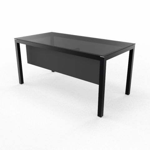 Impuls Black Top And Black Legs Executive Desk With Black Modesty Panel