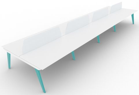 Bodo Eight Person Bench Desk 1600mm Deep Turquoise Blue With Screens