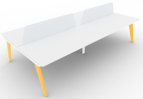 Bodo Four Person Bench Desk 1600mm Deep Colza Yellow Steel Extension With Screens