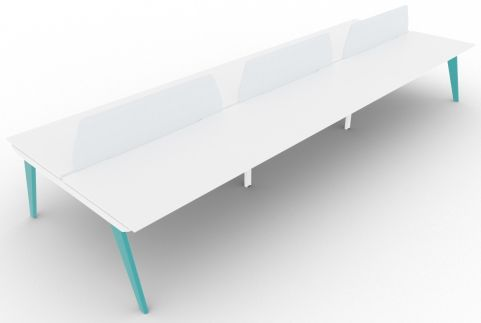Bodo Six Person Bench Desk 1600mm Deep Turquoise Blue Extension With Screens