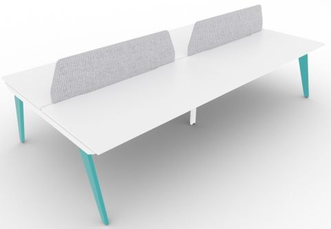 Bodo Four Person Bench Desk 1600mm Deep Turquoise Blue Steel Extension Grey Screens
