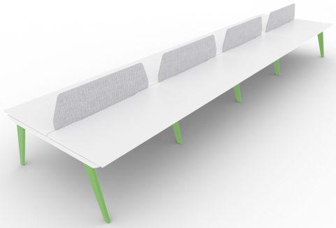 Bodo Eight Person Bench Desk 1600mm Deep Yellow Green Grey Screens