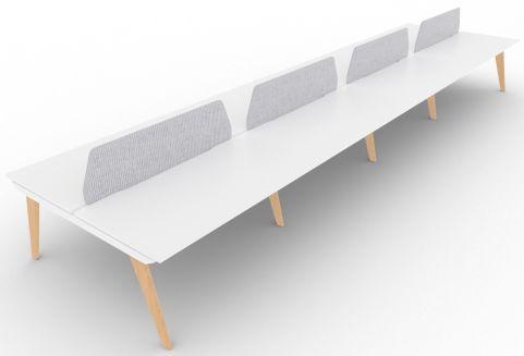 Bodo Eight Person Bench Desk 1600mm Deep Oak Legs Grey Screens