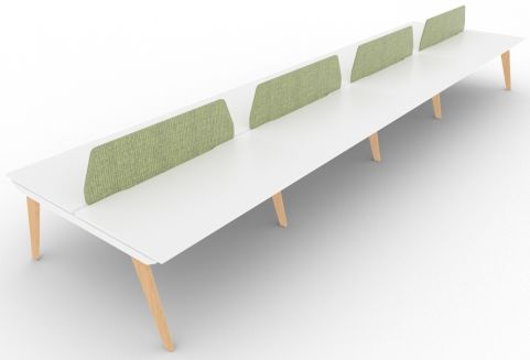 Bodo Eight Person Bench Desk 1600mm Deep Oak Legs Fair Isle Screens