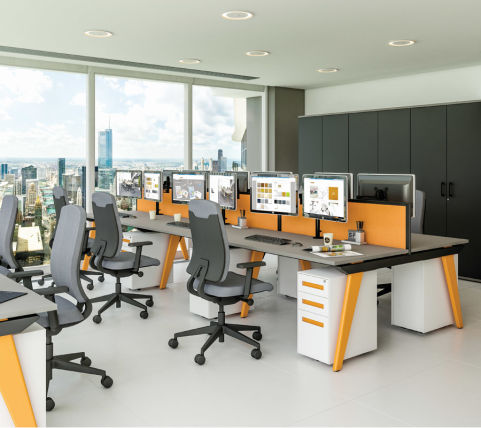 Bodo Workstations Orange Legs Grey Tops Orange Screens