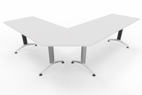 Travido 10 1600mm Desk With Corner Link And Return 1200mm White Finish Top Silver Leg
